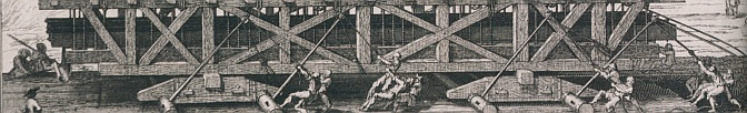 The lifting of the Louvre pediment stones, 1674, engraving by Sébastien Leclerc